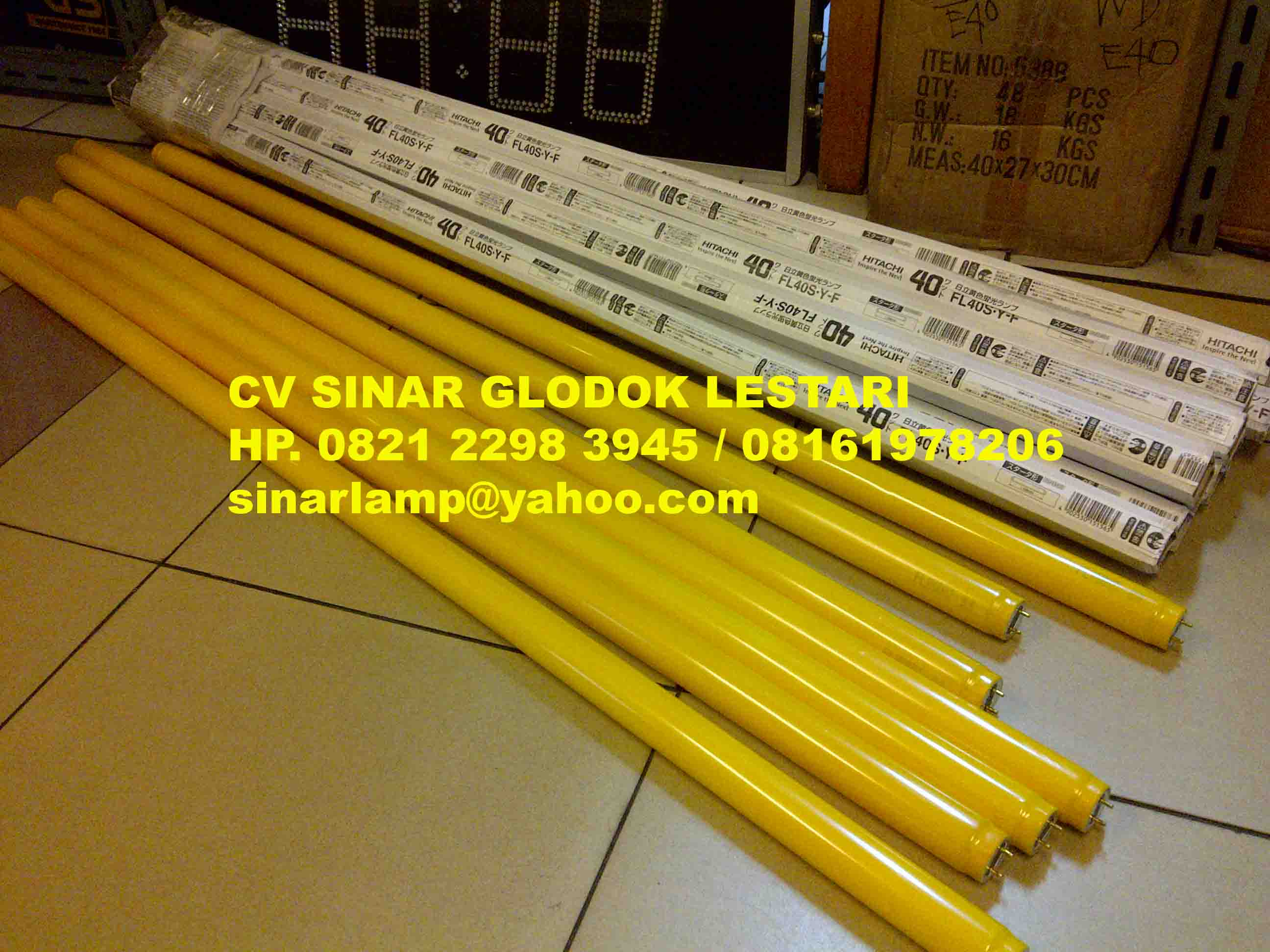 Merk Sinar Glodok Lestari Hitachi Lampu Aquarium 20w Made In Japan Kuning Uv Shatterproof Fl40s Y F Yellow Tube